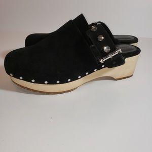 REBECCA MINKOFF CLEO Black Wood Heel Clogs 8 EUC